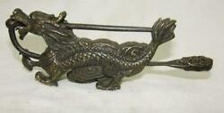 Collectibles Rare Chinese Old Style Brass Carved Dragon Lock And Key