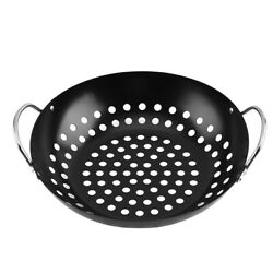 5xbarbecue Grill Pan Baking Tray Round Vegetable Grill Basket Bbq Grid Topper