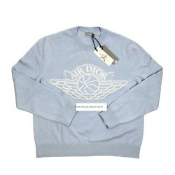 Air Dior Cashmere/cotton Baby Blue Knitted Jumper Size Xl