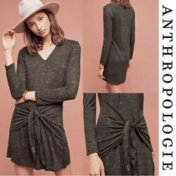 Nwot Anthropologie Dolan Left Coast Tied Tee Dress L Marled Green Stretch Lined
