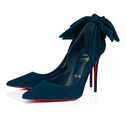 Christian Louboutin Rabakate 100 Capitaine Blue Suede Bow Pointed Heel Pump 40.5
