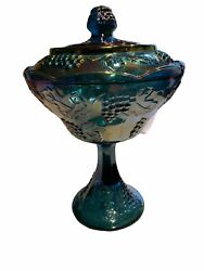 Indiana Blue Carnival Glass Harvest Grape Pedestal Compote Bowl W Lid Candy Dish