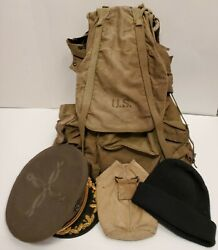 Vintage Military Gear Lot Ww2 Era Backpack Visor Dress+ Watch Caps Canteen Cover