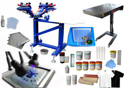 Full Set-4 Color Screen Printing Kit-press W/flash Dryer W/material Kit 006894
