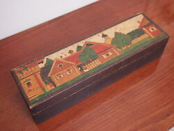 Antique Russian Carved Painted Wooden Folk Art Pencil Arts And Crafts Box Houses