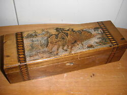 Large Antique Russian Carved Folk Painted Winter Troika Scene 3d Pencil Box