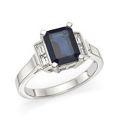 Real 2.90 Ct Sapphire Gemstone Ring Solid 950 Platinum Diamond Rings Size 7 8 9