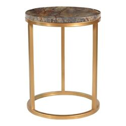 16 W Set Of 2 Accent Table Coffee Marble Stone Antique Brass Stainless Steel
