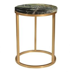 16 W Set Of 2 Accent Table Green Marble Stone Antique Brass Stainless Steel