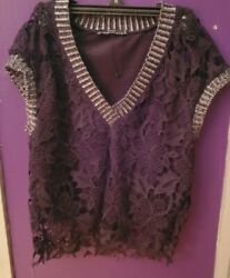 Black ZARA Crocheted Shirt Top Size SMALL W Solid Black Underneath FREE GIFT $25.00