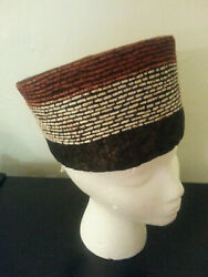 Zulu Isicholo Hat Authentic Hand Woven Grass, Hair And Cotton Fiber Display Only
