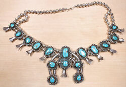 Vintage Handmade 1950and039s Sterling And Bisbee Turquoise Squash Blossom Didd X879c