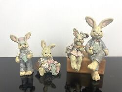 Sarahs Attic Henry, Cookie Sep, Herbie, And Heather Rabbit Bunny Family 1990