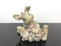 Sarahs Attic Limited Edition Figurine Easter Cookie Bunny Rabbit With Cat 1990