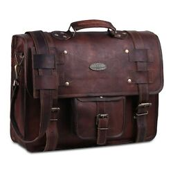 Leather Messenger Bags For Men Women Briefcase Laptop Computer Satchel Bag 15 in $61.09