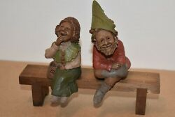 Signed Tom Clark Gnomes Madre And Padre With Bench