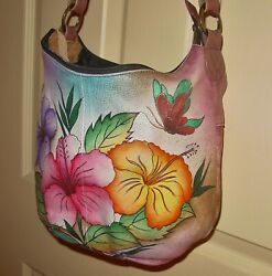 ANUSCHKA Hand Painted Leather Floral Butterfly Hobo Shoulder Bag $49.99
