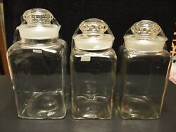 Antique Vintage Apothecary Pharmacy General Store Flour Sugar Candy Jars 3 Pc.