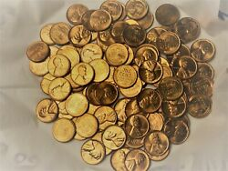 Stunning Lot Of 100 Ms Bu+++ 1950and039s Wheat Pennies Great For Any Coin Collector
