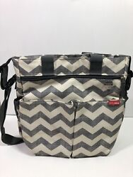 Skip Hop dash messenger diaper bag grey cream chevron pattern unisex boys girls $9.99