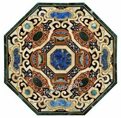 Pietra Dura Art Hand Crafted Hallway Table Top Marble Coffee Table Top 42 Inches