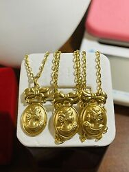 """18k 750 Fine Saudi Gold 20"""" Long Women's Queen Necklace And Earring 9.1g 1.6mm"""