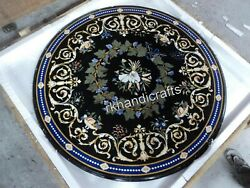 40 Inches Round Marble Dining Table Black Living Room Table With Vintage Crafts