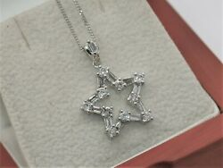 18ct White Gold Natural Diamond Star Cluster Pendant And Necklace British Made