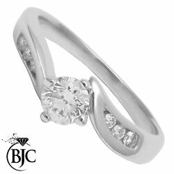 18ct White Gold Diamond 0.43ct Size J Solitaire Engagement Ring British Made