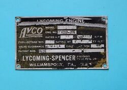Lycoming Spencer Aircraft Engine Data Plate O290-g4
