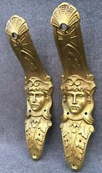 Big Antique Pair Of Furniture Ornaments Brass France Early 1900's Empire Style