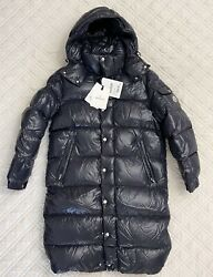 Moncler Hanoverian Hooded Long Laque Puffer Down Coat Navy Size Tg3 Nwt