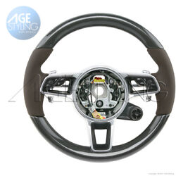 Porsche 991 Gts Cayman 718 Boxster Carbon Espresso Brown Leather Steering Wheel