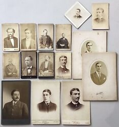 15 Antique Cabinet Card Photo Lot Chicago Portraits Men Ohio Man Wisconsin Early