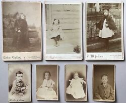 7 Antique Cabinet Card Photo Lot Chicago Portraits Children Girls Boys Baby Old