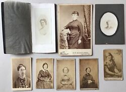8 Antique Cabinet Card Photo Lot Chicago Portraits Women Ladies Early Old Ny