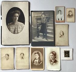 10 Antique Cabinet Card Photo Lot Chicago Portraits Women Ladies Early Minnesota
