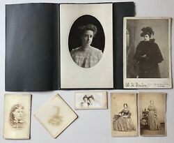 7 Antique Cabinet Card Photo Lot Chicago Portraits Women Ladies Early Illinois