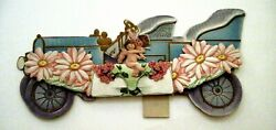 Charming Victorian Valentine Die Cut Love's Auto W/large Pink Daises And Cupids
