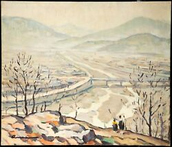 American School, Oil On Canvas, Migrants In Landscape, Signed, 1941