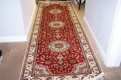 100pure Silk 2.6and039x8and039 Traditional Orential Red Hand Knotted Rug Runner No Wool