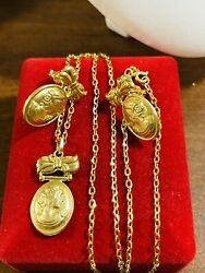 """18k 750 Fine Gold 16"""" Long Women's Queen Necklace And Earring 8.32g 1.6mm Fastship"""