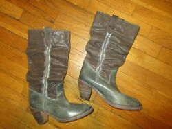 Diesel Green Leather Stacked Heel Boots Women's Size Eu 40 Ruched Mid-calf Euc