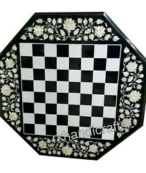 27 Inches Marble Patio Game Table Top Gemstones Art Coffee Table For Hall Room
