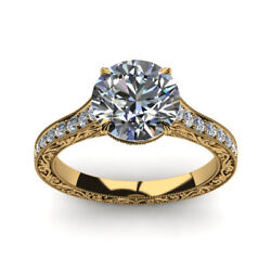 Round 0.85 Ct Natural Diamond Women Engagement Ring Solid 14k Yellow Gold Size 7