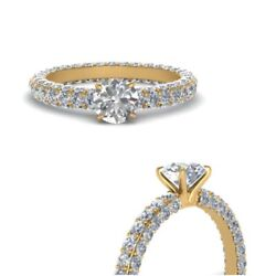 1.10 Ct Real Diamond Women Engagement Rings Solid 14k Yellow Gold Size 5 6 7 8