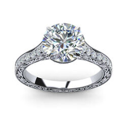 Round 2.35 Ct Diamond Women Engagement Ring Solid 14k White Gold Rings Size 5 7