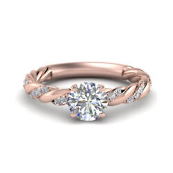 Round 0.70 Ct Real Diamond Wedding Rings Solid 14 K Rose Gold Ring Size 6 7 8 9