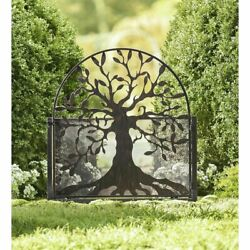 Garden Life Tree Metal Gate Decor Vintage With Latch Black Outdoor Art Fence