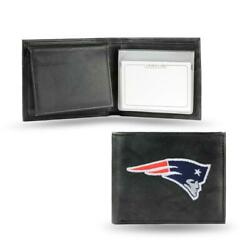 New England Patriots Embroidered Leather Billfold [new] Trifold Wallet Id Card